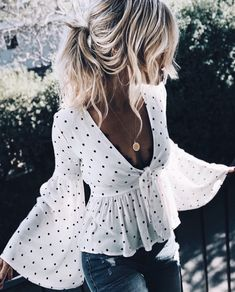 Summer: White top, fluted sleeves polka dots