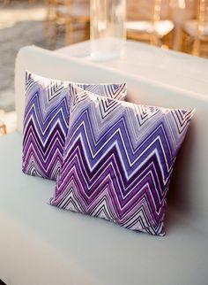 Purple zig zag chevron pillows