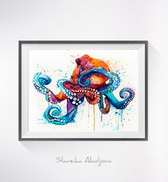 Aquarelle de poulpe imprimer art Octopus aquarelle par SlaviART
