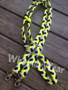 Iowa Hawkeye colored braided reins by WhinneyWear   www.whinneywear.com