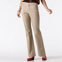 Women's Gloria Vanderbilt Charlene Comfort Waist Dress Pants, Size: 14 Avg/Reg, Med Beige