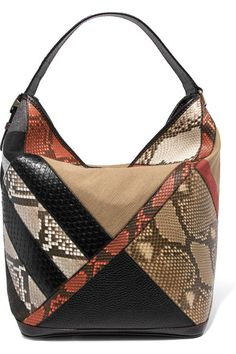 36b33eb8cce034 BURBERRY Checked canvas, python and textured-leather shoulder bag.