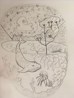 A cute picture of the sea  and sky  draw by myself Neve smith x