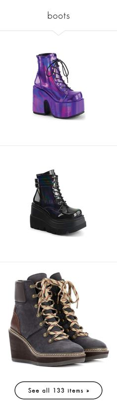 """boots"" by stopcallinme ❤ liked on Polyvore featuring shoes, boots, ankle booties, ankle boots, lace-up ankle booties, lace-up booties, lace-up bootie, high heel booties, chunky heel booties and wedge heel booties"