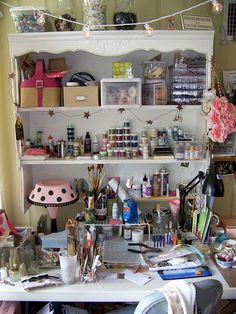 """This makes me LOL - had to move the studio to the house and this is my """"new"""" work station (several years ago)......it hasn't looked like this since I set it up!"""