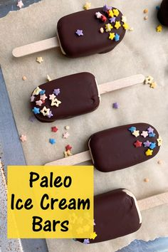 These homemade chocolate covered ice cream bars are the ultimate summer dessert. Paleo friendly, nut free, dairy free and a kid favorite. They have a creamy sunbutter ice cream that's coated in dark chocolate. #icecreambars #paleo #summerdessert Paleo Ice Cream, Easy Ice Cream Recipe, Dairy Free Ice Cream, Ice Cream Recipes, Healthy Vegan Desserts, Vegan Dessert Recipes, Gluten Free Desserts, Paleo Recipes, Free Recipes