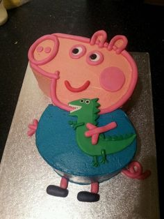 George Pig And Dinosaur Toddler Birthday Cakes, Dinosaur Birthday Cakes, Dinosaur Cake, 3rd Birthday, Birthday Ideas, George Pig Cake, George Pig Party, Rodjendanske Torte, Pig Cupcakes