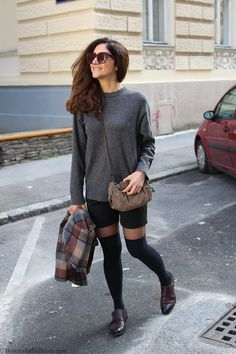 #cape #poncho #over #knee #socks #boots #overknee #oxfords #grey #knitted #jumper #sweater #celine #winter #outfit #cold #weather #outfit #trends15  www.thankstofashion.com