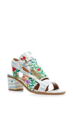Hermione Embroideredd Linen Sandals by Laurence Dacade Now Available on Moda Operandi
