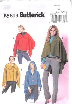 BUTTERICK 5819 - FROM 2012 - UNCUT - MISSES WRAP AND CAPE