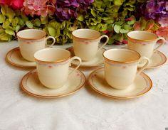 5 Beautiful Lenox Porcelain Cups & Saucers ~ Bellaire ~ Pink Blue Flowers ~ Gold #Lenox