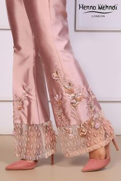 Lilac Embroidered & Embellished Trousers - - Lilac Embroidered & Embellished Trousers Projects to try Lilac Embroidered & Embellished Trousers – Henna Mehndi Salwar Designs, Blouse Designs, Pakistani Dress Design, Pakistani Outfits, Indian Outfits, Fashion Pants, Fashion Dresses, Dope Fashion, Swag Fashion