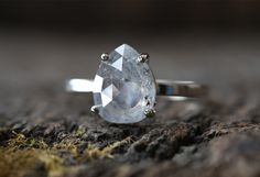 One of a Kind Natural Silver-Blue Salt + Pepper Diamond Ring