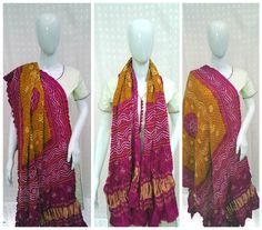 Out come of intense hard work is always beautiful.  This pink and mustard bandhani dupatta is a beautiful outcome of hard work of workers who work for days together to create such a pretty piece with traditional handicraft tie and dye bandhani technique.  Heavy gajji silk material with lagdi patto pattern looks beautiful with white and yellow bandhani dots.  Gels well with contrast color dresses/western wear.  Ocassion: Party/casual Wear  To buy/collaboration call/whatsapp- 9377399299