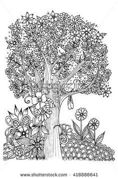 Flowers In Black And White Tree With Birds Doodle Art For Coloring Book