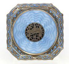 Blue Enamel Powder Compact (1930') #vintage #compact