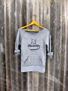 tea time Chihuahua Sweater, Grey Sweater, Small Dog Shirt, Cute Sweater