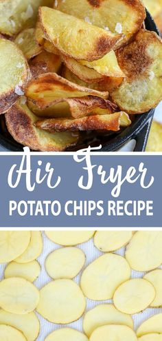 This Air Fryer Potato Chips recipe is going to blow your mind! The chips are cru. This Air Fryer Potato Chips recipe is going to blow your mind! The chips are crunchy and so delicious, and you won't Air Fryer Chips, Air Fryer Potato Chips, Air Fryer Baked Potato, Oven Potato Chips, Best Potato Chips, Air Fry Potatoes, Air Fryer Oven Recipes, Air Frier Recipes, Air Fryer Dinner Recipes