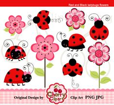 Red and Black Ladybugs Flowers digital clipart set for-Personal and Commercial Use-Card Design, Scrapbooking, and Web Design. $5.00, via Etsy.