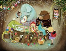 The Craft Club - Giclee Print - Whimsical Artwork - Children's Artwork - Nursery Print Baby Artwork, Childrens Artwork, Nursery Artwork, Nursery Paintings, Nursery Prints, Fox Painting, Nursery Canvas, Watercolor Fox, Thing 1