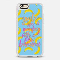 Smile Like A Monkey With A New Banana - protective iPhone 6 phone case in Clear and Clear by Sara Eshak #food   @casetify