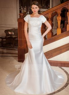 Trumpet/Mermaid Square Neckline Chapel Train Satin Wedding Dress With Ruffle Lace Beading (002001668) - JJsHouse