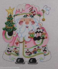 Strictly Christmas Santa Claus with Cupcakes Hand Painted Needlepoint Canvas   eBay  $55