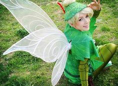 Tinkerbell the lost treasure costume by clefchan on @deviantART. Leaf pattern with textile paint. Light green fabric & then used 2 kinds of painting techniques. About 90$ of small plastic jewels all over the fabric. Short blond wig with a hair bun sewn on top of it. Wings done with thin wire, fixed the different parts with glue, added an iridescent fabric on one side of the wings.