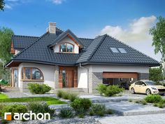 Dom w zefirantach 4 Modern Bungalow House, Modern House Design, Architectural Design House Plans, Modern Architecture House, Beautiful Modern Homes, Attic House, Forest House, Roof Design, Pool Houses
