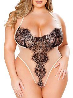 99b23ce079d Women s Plus Size Sexy Gartered Lingerie Nightwear - Lace Color Block 2019  - US  11.33 Teddy