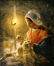 """""""Woman Sewing by Lamplight,"""" by Millet."""