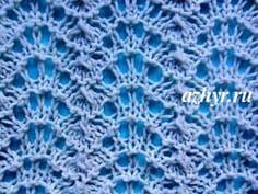 №34 Ажур - волнистый узор спицами, схема | АЖУР - схемы узоров