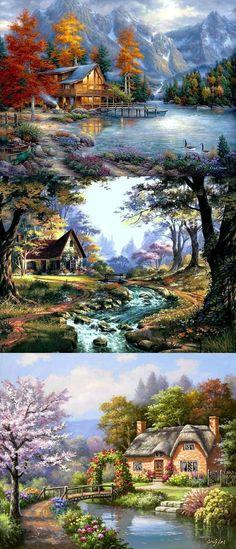 Thomas Kinkade, Beautiful Paintings, Beautiful Landscapes, Landscape Art, Landscape Paintings, Scenery Paintings, Gravure Photo, Kinkade Paintings, River Painting