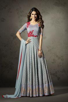 982cdbe75c Jennifer Winget Cyan Silk&Jacquard Resham and Zari on Patch with Diamond Salwar  Kameez