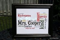 Wordle...teacher gift...sayings about teacher from each student  Would love to do this about each student, but put it in their silhouette. Now, I have to figure out how. ; )