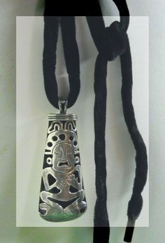 Vintage Very Large Marked Sterling Aztec Necklace by justjunkin2, $69.99