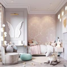 Baby room decoration – Posada decorations – for small rooms … – Interior Baby Bedroom, Baby Room Decor, Bedroom Decor, Bedroom Lamps, Wall Lamps, Dream Bedroom, Baby Girl Bedroom Ideas, Light Bedroom, Nursery Ideas