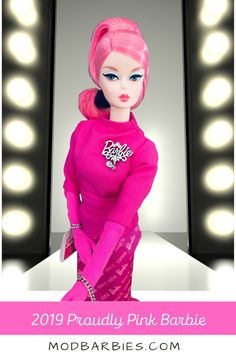 Barbie is pretty in pink! 2019 Proudly Pink Silkstone Barbie, a doll in the Barbie® Fashion Model Collection, celebrates the 60th anniversary of Barbie's birthday. I love her gorgeous vintage face sculpt! #barbie #barbiedoll #proudlypinkbarbie #pinkbarbie #vintagebarbie #modbarbie #dollcollector #dollcollecting #fashiondoll #fashion #BFMC #barbiefashionmodel #dollfashion #dollstyle #barbies #barbiemodel #icollectbarbie #ilovebarbie #barbielover Barbie Model, Barbie Dolls, Face Mold, Barbie Birthday, 60th Anniversary, Lingerie Models, Vintage Barbie, Pretty Hairstyles, Fashion Dolls