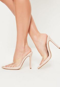 d56cc85523f Nude Pointed Toe Perspex Heeled Mules Clear Heel Shoes