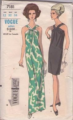 MOMSPatterns Vintage Sewing Patterns - Vogue 7181 Vintage 60's Sewing Pattern MESMERIZING Special Design Loop Strap Mod Evening Gown, Cockta...