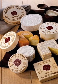 quenalbertini: Fromages (cheese) de Normandie from Normandy Source: Grain… Fromage Cheese, Queso Cheese, Meat And Cheese, Wine Cheese, Goat Cheese, Cheese Shop, Cheese Lover, Antipasto, French Cheese