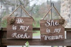 Pretty chalkboard and wooden signs are perfect for fall weddings and are easy personalized homemade details. | Wedding Signs - He is My Rock, She is My Treasure | Sam Spencer Imaging