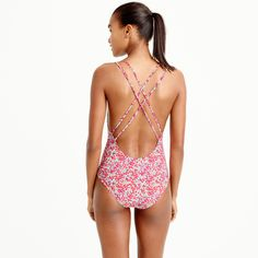 44b72400b0636 Strappy one-piece swimsuit in Liberty® Wiltshire floral