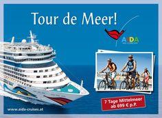 AIDA Cruises: Outdoor 2012 | Radausflüge für AIDA Traveler | By Smolej & Friends, Vienna | www.smolej.at Billboard, Vienna, Friends, Cruise, Advertising, Tours, Outdoor, Creative, Movie Posters