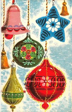 Vintage Christmas Ornaments Illustration Happy New Year Vintage Christmas Images, Old Christmas, Old Fashioned Christmas, Vintage Christmas Ornaments, Retro Christmas, Vintage Holiday, Christmas Pictures, Christmas Crafts, Antique Christmas