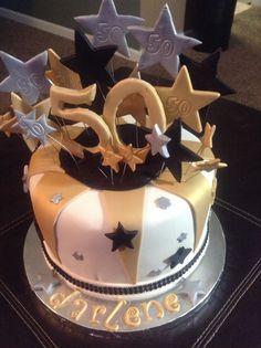 Black Gold And White Birthday Cake