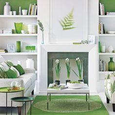 The Contrast Between White Furniture And Lime Green Decor Make This Living Room Pop Courtesy