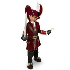 NEW NWT DISNEY STORE CAPTAIN HOOK COSTUME + HAT SWORD HOOK PIRATE ALL SIZES 2014 #Disney #CompleteCostume