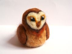 Needle Felted Owl  Miniature Tawny Owl Bird by Knittynudo on Etsy, $27.00