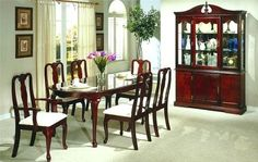 7pc Queen Anne Style Cherry Finish Dining Table & Chair Set